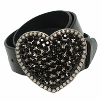 "Heart Jet Swarovski Rhinestone Crystal Leather Women's Belt 1 1/2"" Wide"