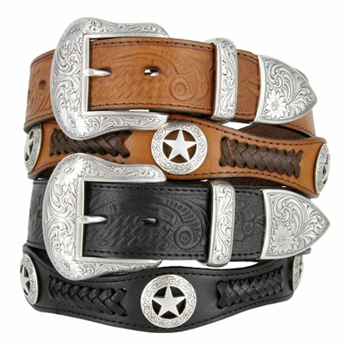 Hidalgo Western Star Conchos Embossed Leather Belt