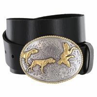 "Western Hunting Dogs Buckle Genuine Full Grain Leather Casual Jean Belt 1-1/2""(38mm) Wide"