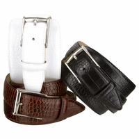 "J2 Men's Italian Alligator embossed Calfskin Leather Dress Belt 1-3/8"" Wide"