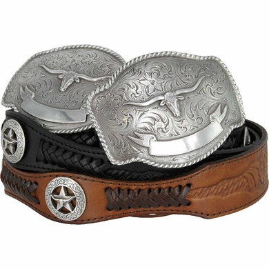 Jacinto Western Longhorn Steer Star Conchos Embossed Leather Belt