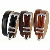 Jakarta Woven Accent Buckle Leather Dress Belt