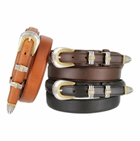 "James Men's Genuine Leather Ranger Belt 1-1/8"" taper to 3/4"""