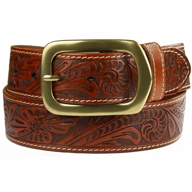 "Jefferson Western Embossed Genuine Leather Casual Jean belt 1 1/2"" wide-Tan"