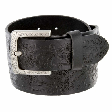 Jordan Western Engraved Buckle Full Leather Belt 1-1/2 inch (38mm) - Black