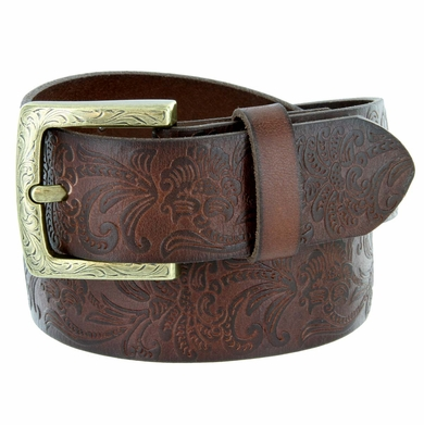 Jordan Western Engraved Buckle Full Leather Belt 1-1/2 inch (38mm) - Brown