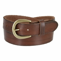 "JT62538 Women's One Piece Full Grain Leather Casual Jean Belt 1-1/2"" wide - Brown"