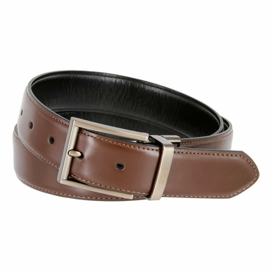 "Kenneth Cole Reaction Brushed Nickel Buckle 1-3/8"" (35mm) Edge Stitched Reversible Belt - Black/Brown"