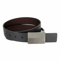 "Kenneth Cole Reaction Gunmetal Buckle 1-3/8"" (35mm) Finished Edge Reversible Belt - .Black/Brown"
