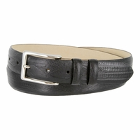 "Kid's Embossed italian Leather Dress Belt with Silver Plated Buckle 1-1/8"" wide"