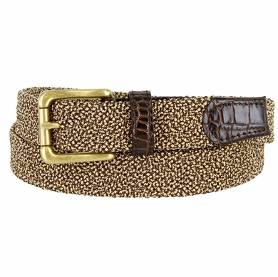 """Knitted Woven Elastic Stretch Fabric Casual Jeans Belt 1-1/4"""" wide - 30200-BL002 Brown/Gold"""
