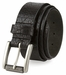 "P4316L20181 Casual One Piece Full Grain Vintage Leather Belt Made in USA 1 1/2"" Wide Black1"