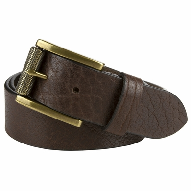 "P4316L20182 Casual One Piece Full Grain Vintage Leather Belt Made in USA 1 1/2"" Wide Brown"