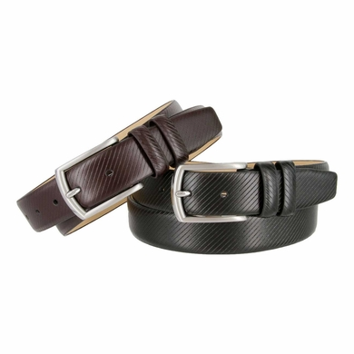 LA1011 Diagonal Stripe Embossed Leather Belt