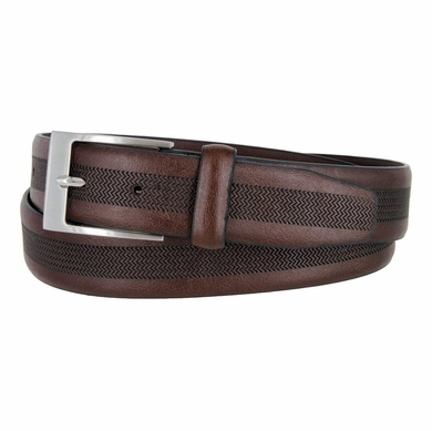 LA1130 Herringbone Embossed Leather Belt Brown