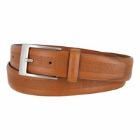 LA1130 Herringbone Embossed Leather Belt Cognac