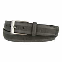 LA1130 Herringbone Embossed Leather Belt Gray