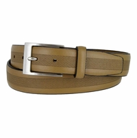 LA1130 Herringbone Embossed Leather Belt Tan