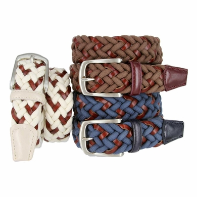 LA1174 Braided Cotton and Leather Belt