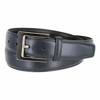 LA1184 Edge Stitched Leather Belt with Black and Silver Buckle