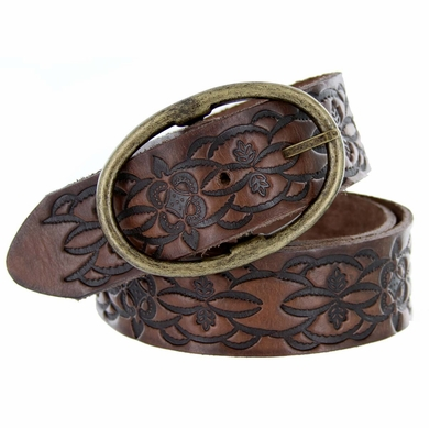 Ladies Leather Belt Western Floral Embossed Full Grain