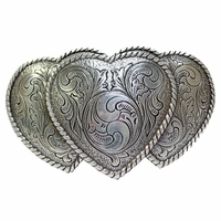 Large Triple Three Heart Shape Western Women's Belt Buckle HA-0086-1