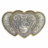 Large Triple Three Heart Shape Western Women's Belt Buckle HA0086-1 ASAG