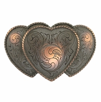 Large Triple Three Heart Shape Western Women's Belt Buckle HA0086-1 SCVRB