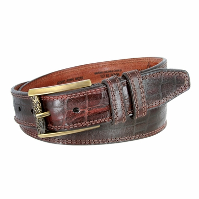 Lejon Alligator Embossed Genuine Italian Saddle Leather Casual Belt - Burgundy