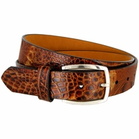 Lejon Alligator Embossed Italian Calfskin Leather Dress Belt LJ12273
