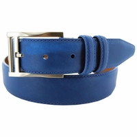 "Lejon Belt 2046 Men's Smooth Leather Dress Belt 1-3/8"" Wide - Blue"