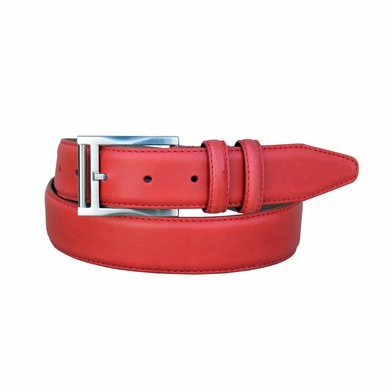 "Lejon Belt 2045 Men's Smooth Leather Dress Belt 1-3/8"" Wide - Red"