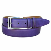 "Lejon Belt 2047 Men's Smooth Leather Dress Belt 1-3/8"" Wide - Purple"