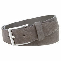 "LEJON Belt 41101 Men's Casual Suede Leather Belt 1-1/2"" wide-Gray Made in USA Belt"