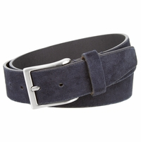 "LEJON Belt 41101 Men's Casual Suede Leather Belt 1-1/2"" wide-Navy Made in USA Belt"