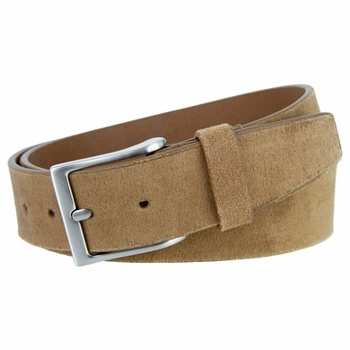 "LEJON Belt 41101 Men's Casual Suede Leather Belt 1-1/2"" wide-Tan Made in USA Belt"