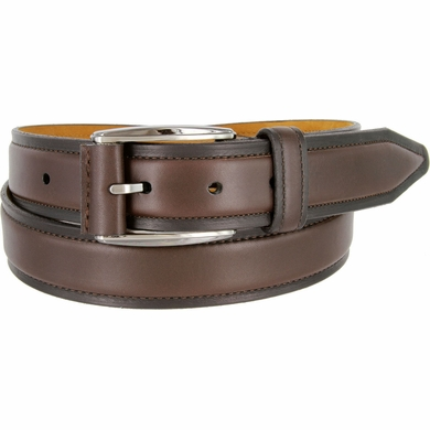 "Lejon Belt Ambassador Full Grain Calfskin Leather Dress Belt 1-3/8"" Wide Brown"