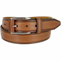 "Lejon Belt Ambassador Full Grain Calfskin Leather Dress Belt 1-3/8"" Wide Tan"