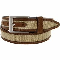"Lejon Belt Back Nine Suede Edged Webbed Cotton Dress Belt 1-3/8"" wide - Beige"