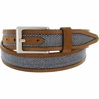 "Lejon Belt Back Nine Suede Edged Webbed Cotton Dress Belt 1-3/8"" wide - Blue"