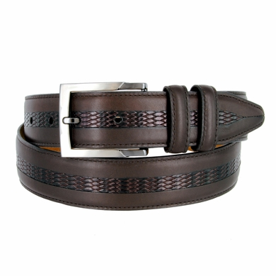 "Lejon Belt Bayside Full Grain Waxy Glove Leather Dress Belt 1-3/8"" Wide Brown"