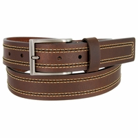 "Lejon Belt Boardwalk Full Grain Harness Leather Belt 1-3/8"" Wide Brown Made in USA"