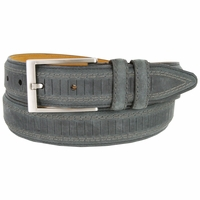 "Lejon Belt Brookline Italian Brushed Leather Dress Belt 1-3/8"" Wide Grey - 13041"