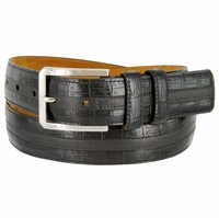 "Lejon Belt Captain's Table Italian Calfskin Leather Dress Belt 1-3/8"" Wide Black"