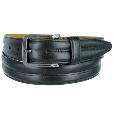 "Lejon Belt Center Club Leather Dress Belt 1-3/8"" Wide Black Made in USA"