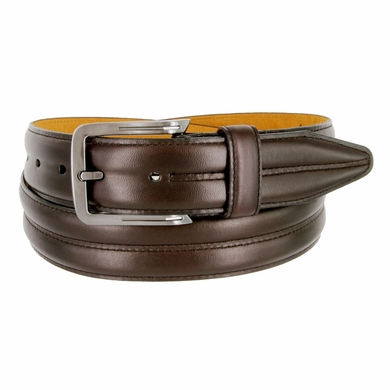 "Lejon Belt Center Club Leather Dress Belt 1-3/8"" Wide Brown Made in USA"