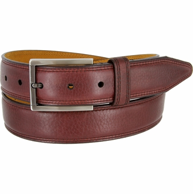 "Lejon Belt Dignitary Milled Full Grain Leather Dress Belt 1-3/8"" Wide Burgundy"