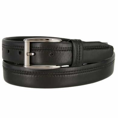 "Lejon Belt Harvard Full Grain Waxy Glove Leather Dress Belt 1-3/8"" Wide Black"