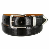 "Lejon Belt Le Bernardin Italian Calfskin Leather Dress Belt 1-3/8"" Wide Black"