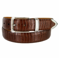 "Lejon Belt Le Bernardin Italian Calfskin Leather Dress Belt 1-3/8"" Wide Brown"